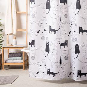 Cortina-de-Baño-Gatos-Blanco-y-Negro